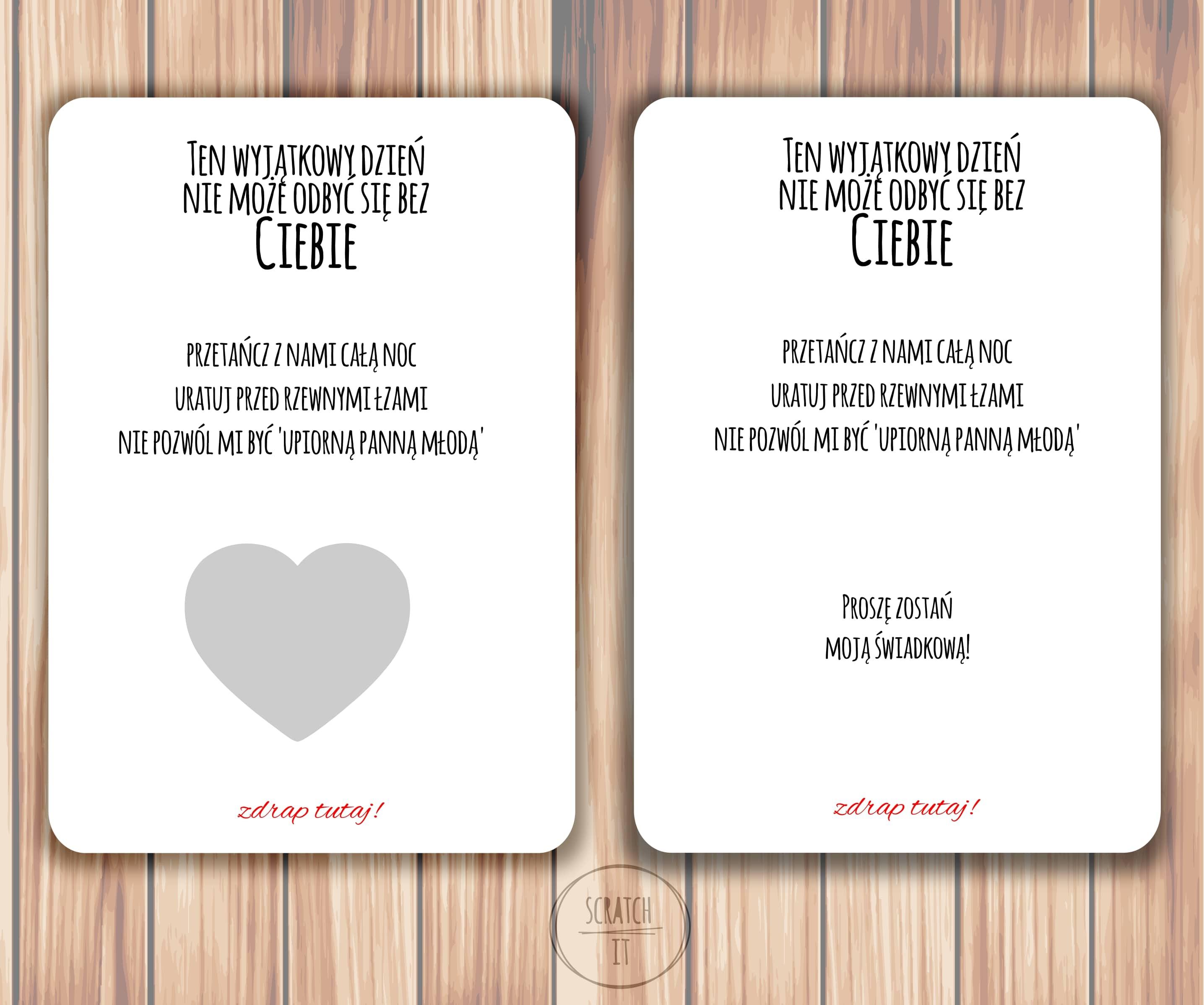 karta zdrapka serce, kartka dla świadkowej, kartka ślub