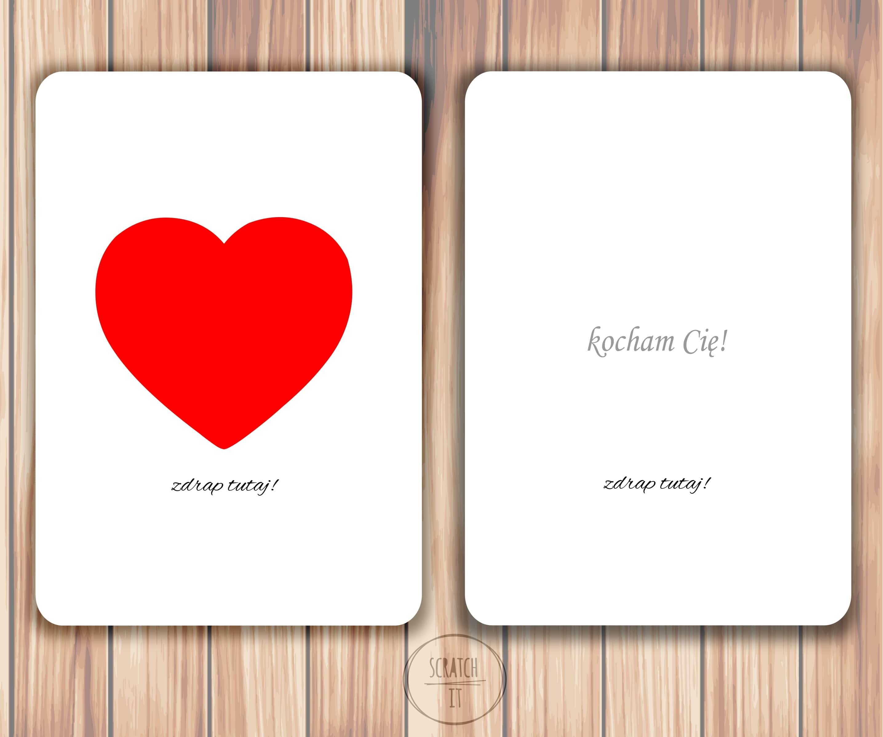 kartka zdrapka zaręczyny serce