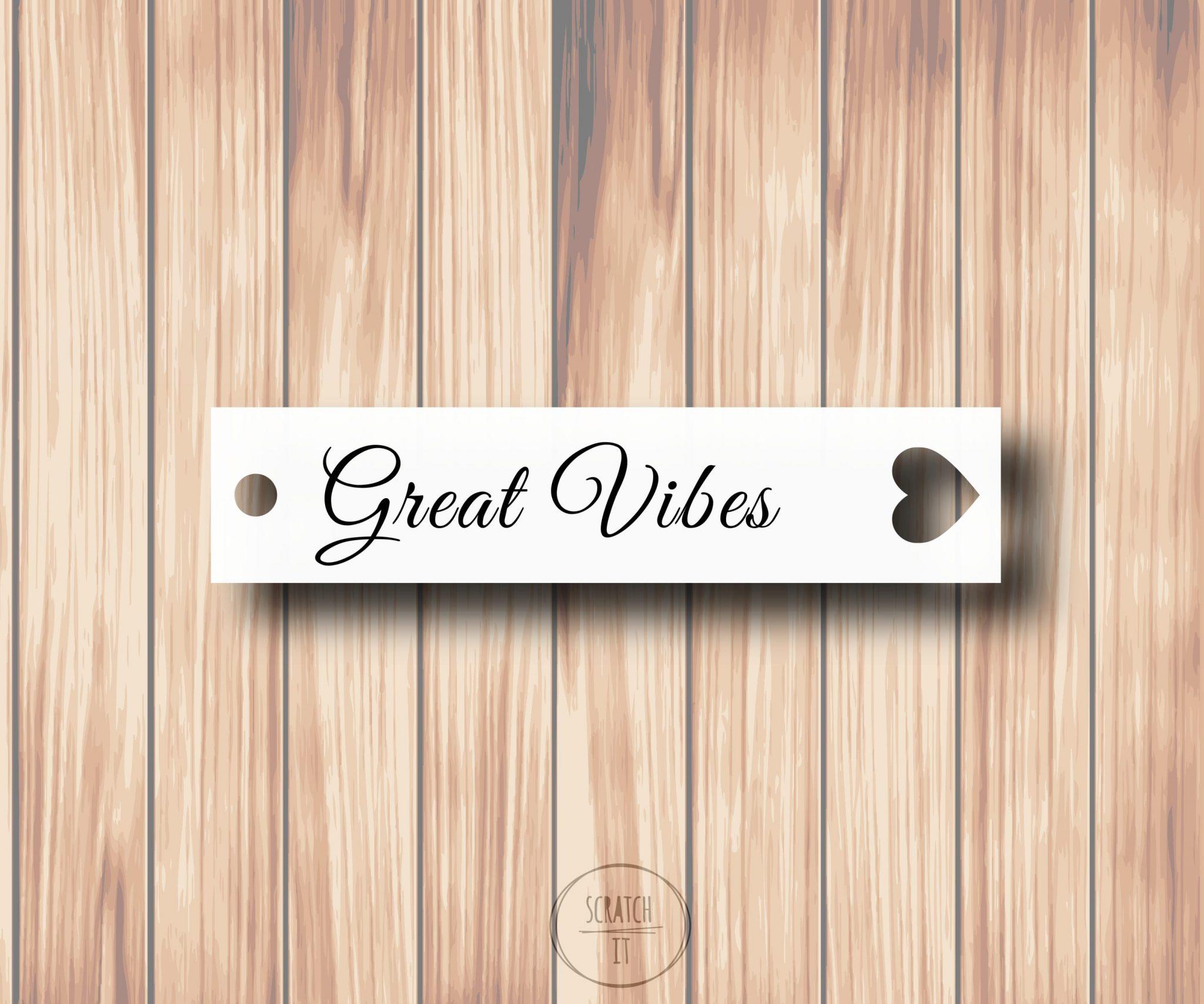 Białe winietki - zawieszka - GREAT VIBES