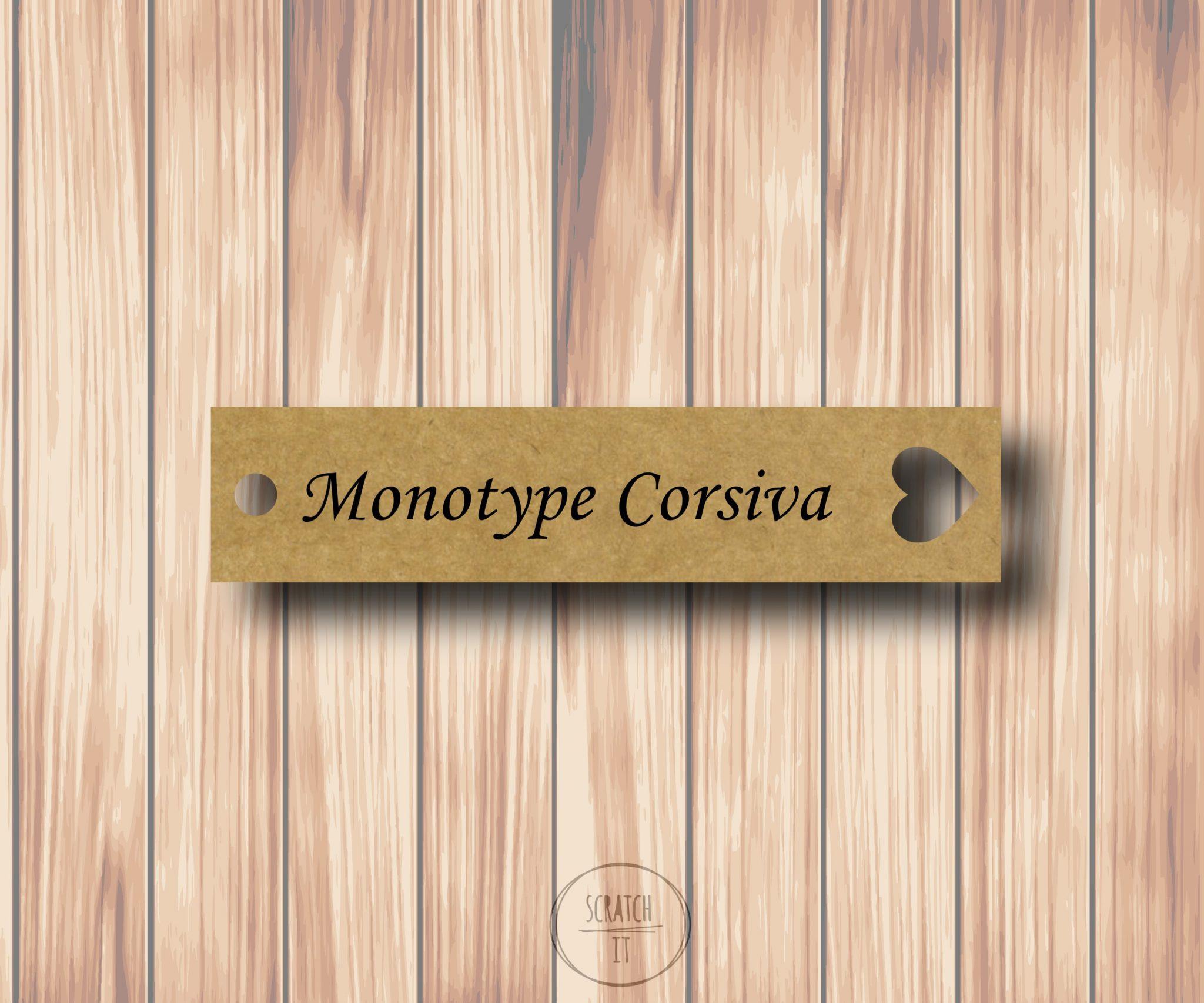Eco winietki - zawieszka - MONOTYPE CORSIVA